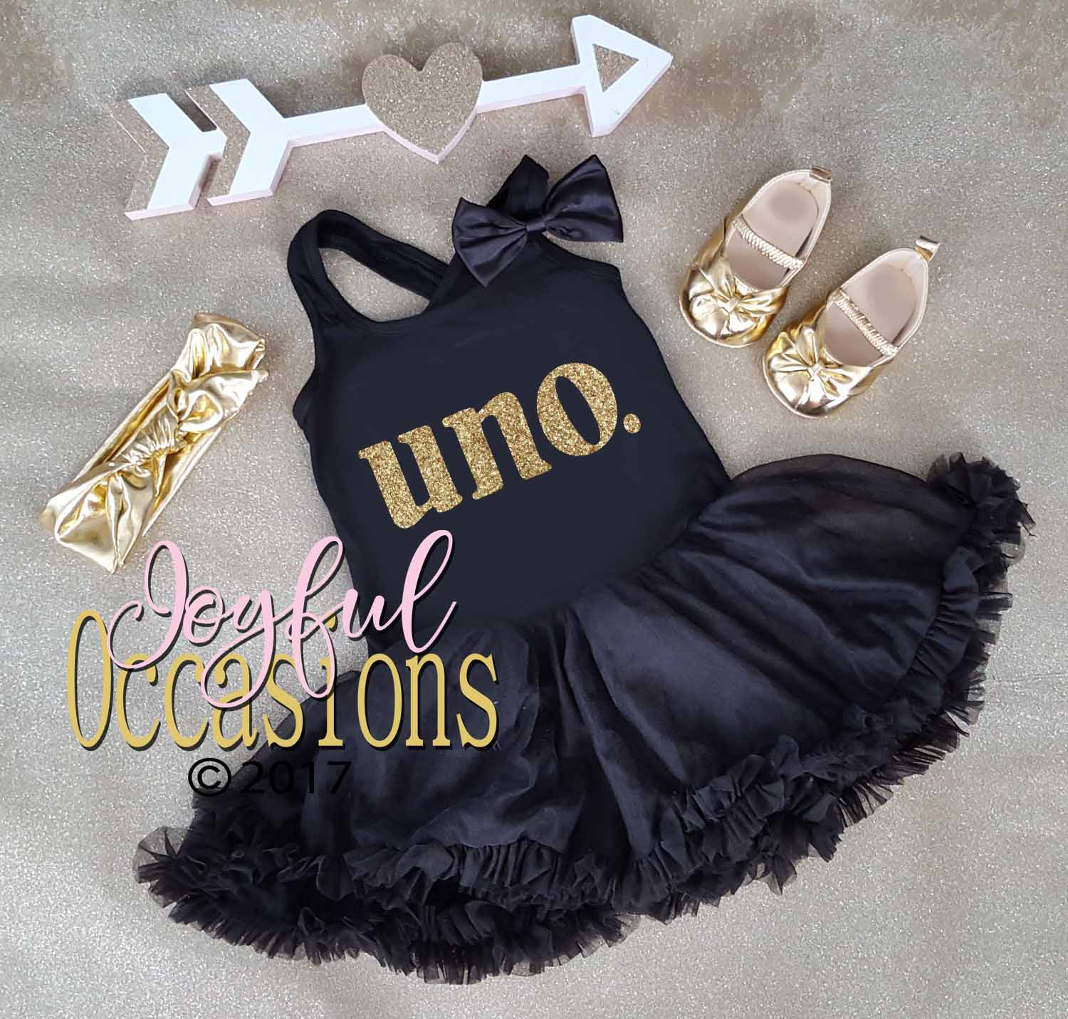 1st Birthday Tutu Dress - Cute Uno Black and Gold 1st Birthday Glitter Tutu Dress