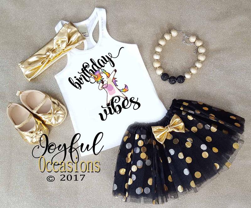 Black Gold Unicorn Dab Birthday Vibes Glitter 1st 2nd 3rd 4th 5th 6th 7th 8th Birthday Tutu Set For Baby Girls