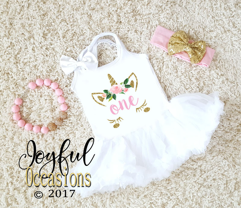 Cute Glitter Pink and Gold Unicorn Face Birthday Tutu Dress with Fluffy Pettiskirt Ages 1-3