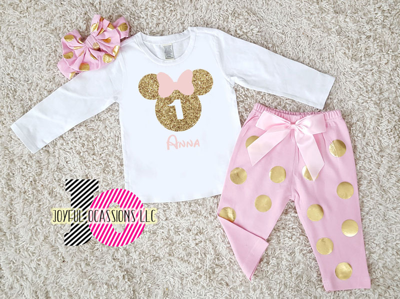Pink and Gold Polka Dot Birthday Minnie Mouse Pants Outfits (Age 1-6)
