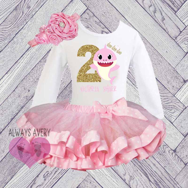 d74f86f4a1f Shark 2nd Birthday Outfit Toddler Girl 2, Personalized Second Birthday Set,  Winter Two Year Old, Birthday Shirt Tutu Skirt Set Pink Gold