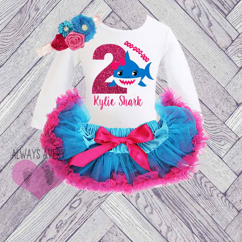 Cute Personalized Blue And Hot Pink Shark 2nd Birthday Tutu Outfit