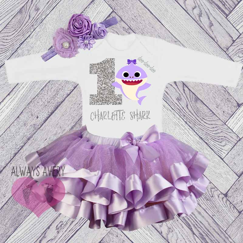 b7338b3b9a Cute Personalized Shark Lavender and Silver Birthday Tutu Outfit (Ages 1-6)