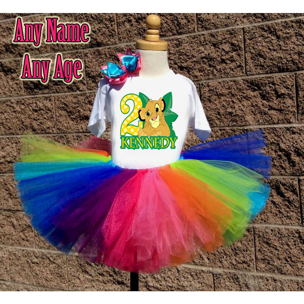 Rainbow The Lion King Birthday Girl Tutu Outfit - Personalized Ages 1-16