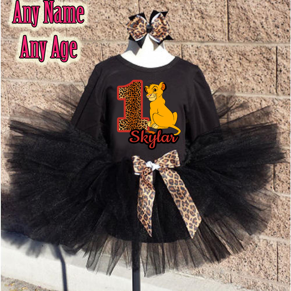 Black Leopard Print Lion King Birthday Girl Tutu Outfit - Personalized Ages 1-16