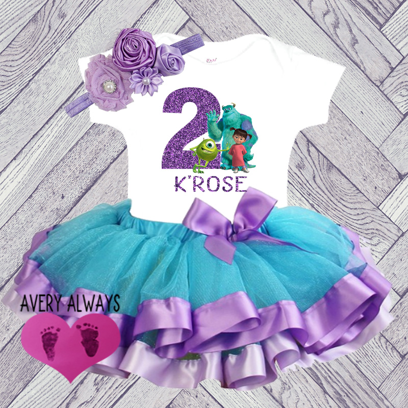 Cute Personalized Monsters Inc Purple and Blue Glitter Birthday Tutu Outfit (Ages 1-6)