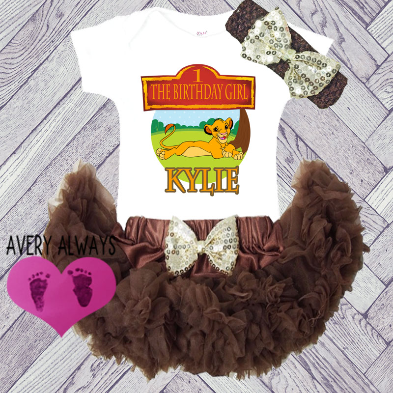 The Lion King Brown 1st Birthday Baby Girl Tutu Outfit Personalized
