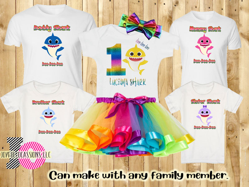 Rainbow Shark Matching Family Shirts. Birthday Girl Outfit Sold Separately