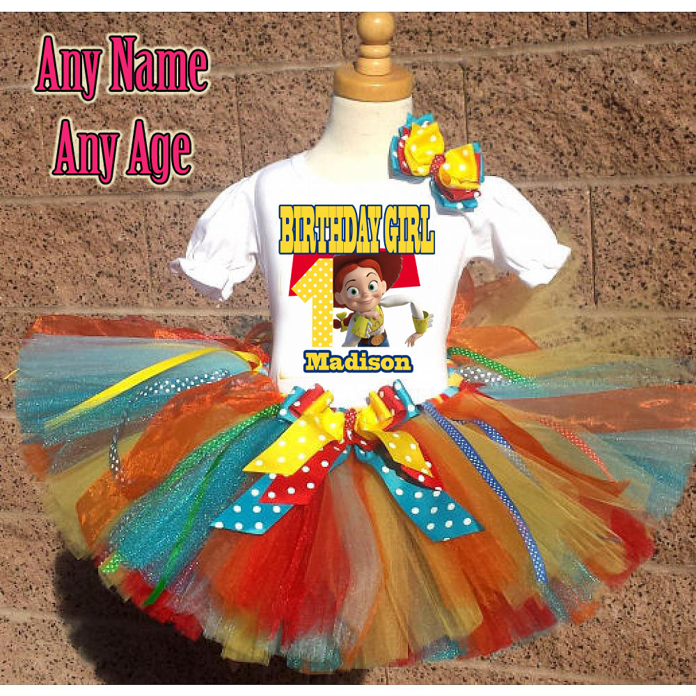 Rainbow Toy Story  Jessie Inspired Birthday Girl Tutu Outfit - Personalized Ages 1-16