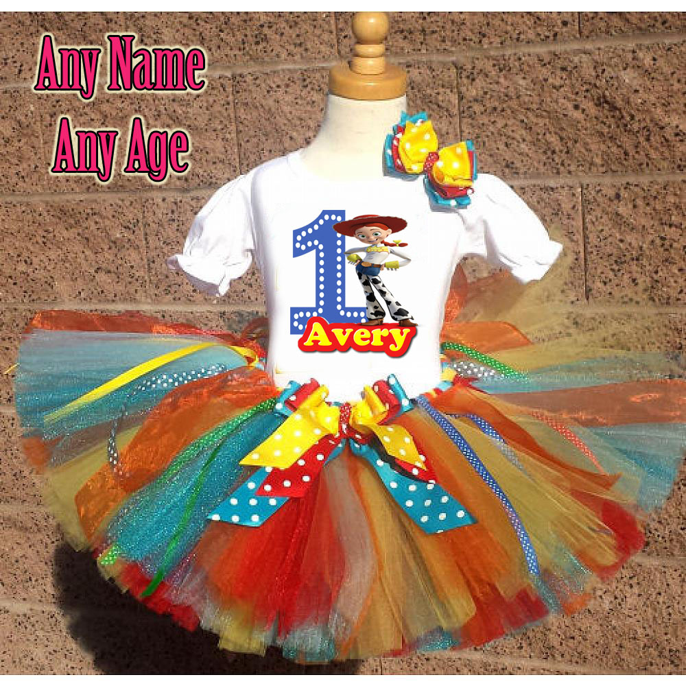 Rainbow Jessie Toy Story Inspired Birthday Girl Tutu Outfit - Personalized Ages 1-16