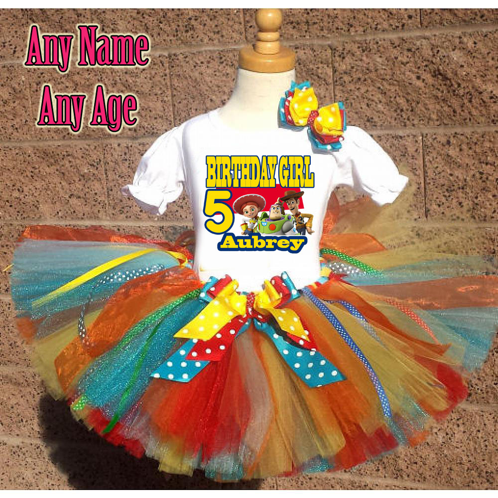 Rainbow Toy Story Inspired Birthday Girl Tutu Outfit - Personalized Ages 1-16