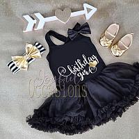 Black White and Gold Birthday Girl Tutu Dress - 2pc 1st 2nd 3rd Birthday Girl Tutu outfit With Matching Headband Ages 1-3