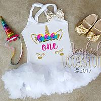 Gold Glitter Rainbow Unicorn Birthday Girl 1st 2nd 3rd Birthday Tutu Dress with Fluffy Pettiskirt Available for Ages 1-3