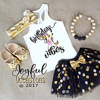 Black Gold Unicorn Dab Birthday Vibes Glitter 1st 2nd 3rd 4th 5th 6th 7th 8th Birthday Tutu Set For Baby Girls