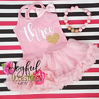 2nd Birthday Tutu Dress - Cute Pink and White Birthday Glitter Tutu Dresses
