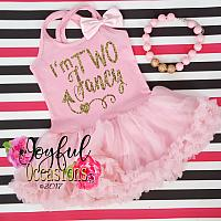 2nd Birthday Tutu Dress - Cute I'm Two Fancy Pink and Gold Glitter Dresses