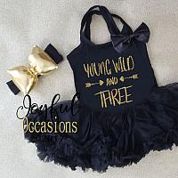 3rd Birthday Tutu Dress - Cute Young Wild and Three Black and Gold Glitter Dresses
