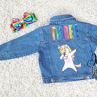 Custom Rainbow Unicorn Denim Jacket For Babies To Toddlers