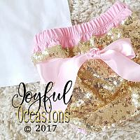 1st Birthday Outfit With Shorts Summer - 2 Pc Cute Glitter Pink Gold Sequin Birthday Bloomers Set For One Year Old Baby Girls