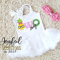 Pineapple Two Sweet Birthday Tutu Dress For Toddler Girls