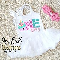 Pink and Blue Unicorn Cupcake First Birthday Tutu Dress For Baby Girl