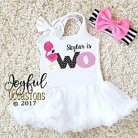 Flamingo Two Year Old Birthday Tutu Dress For Toddler Girls
