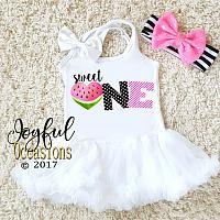 Sweet One Watermelon Summer First Birthday Tutu Dress For Baby Girl