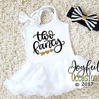 2nd Birthday Tutu Dress - Cute Two Fancy White, Black and Gold Glitter Dresses