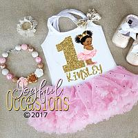 Pink and White Sparkly African American Princess First Birthday Tutu Dress For Baby Girl