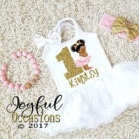Pink and Gold Sparkly African American Princess First Birthday Tutu Dress For Baby Girl