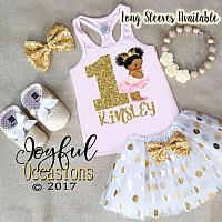 African American Pink and Gold Princess 1st Birthday Tutu Outfits