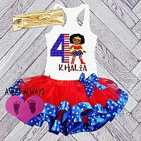 African American Wonder Woman Superhero Glitter Birthday Tutu Outfit (Ages 1-6)