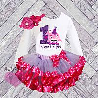 Hot Pink and Purple Shark Personalized Birthday Tutu Set  (Ages 1-6 )