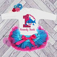 Cute Personalized Blue and Hot Pink Shark Birthday Tutu Outfit (Ages 1-6 )