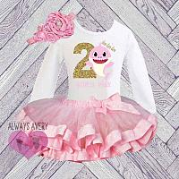 Cute Personalized Shark Pink and Gold Birthday Tutu Outfit (Ages 1-6)