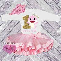 Cute Personalized Shark Pink and Gold 1st Birthday Tutu Outfit