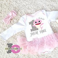 Cute Personalized 2 PC Pink and White Sparkly Shark 1st Birthday Tutu Outfit