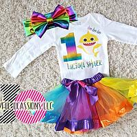 Cute Personalized Rainbow Shark Birthday Tutu Outfit