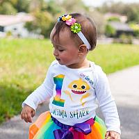 Cute Personalized Rainbow Shark Birthday Tutu Outfit