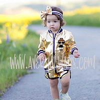 2 Piece Black and Gold LOL Surprise Birthday Shorts Outfit Ages 1 - 5