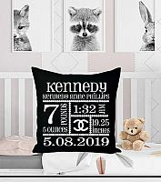 Personalized Black and White Chanel Inspired Birth Announcement Pillows For Nursery 20x20