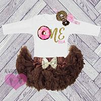 Cute Personalized Chocolate and Gold Donut First Birthday Fluffy Tutu Outfit