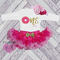 Cute Personalized Hot Pink and Gold Two Tone Donut First Birthday Fluffy Tutu Outfit