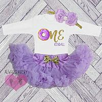 Cute Personalized Purple and Gold Donut First Birthday Fluffy Tutu Outfit.