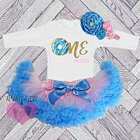 Cute Personalized Pink, Blue and Gold Donut First Birthday Fluffy Tutu Outfit