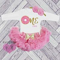Cute Personalized Pink and Gold Donut First Birthday Fluffy Tutu Outfit.