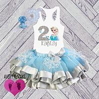 Cute Frozen Inspired Light Blue and Silver Glitter Birthday Tutu Outfit (Ages 1-6)