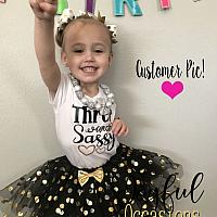Black and Gold Sassy Glitter 1st 2nd 3rd 4th 5th 6th Birthday Tutu Set - Party Tops For Baby Toddler Girls 1-10
