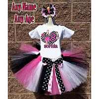 Black and Pink JoJo Siwa Inspired Birthday Girl Tutu Outfit - Personalized Ages 1-16