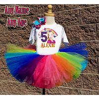 JoJo Siwa Inspired Rainbow Glitter Birthday Girl Tutu Outfit - Personalized Ages 1-16
